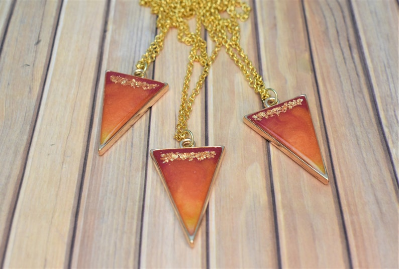 Gold Necklace Red Orange Pink Triangle Pendant Gold Flake Resin Ombre Resin Necklace Sunrise Ombre Resin Necklace: Resin Jewelry