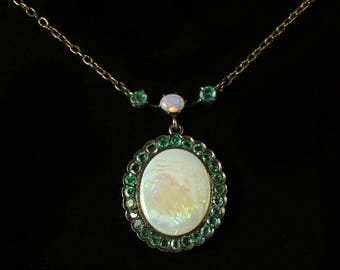 Antique Victorian Opal Emerald 9ct Gold Necklace Circa 1900