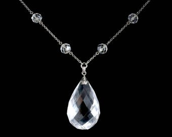 Antique Victorian Long Silver Rock Crystal Necklace Circa 1900 K.uyeda