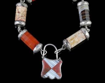 Antique Victorian Scottish Agate Padlock Bracelet Circa 1860