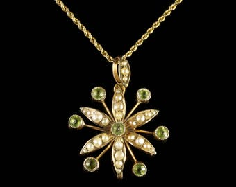 Antique Victorian Peridot Pearl Pendant Necklace Circa 1900