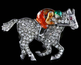 Antique Victorian Diamond Race Horse Brooch With Jockey 1.35ct Diamonds