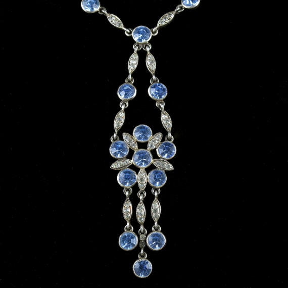 Antique Victorian Paste Stone Flower Necklace Circ