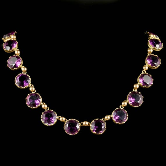 Antique Victorian Purple Paste Necklace Circa 1860 - image 1