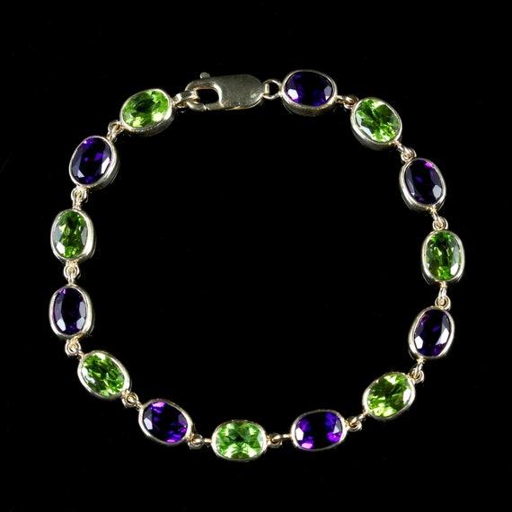 Suffragette Style Amethyst Peridot Bracelet 9ct Go