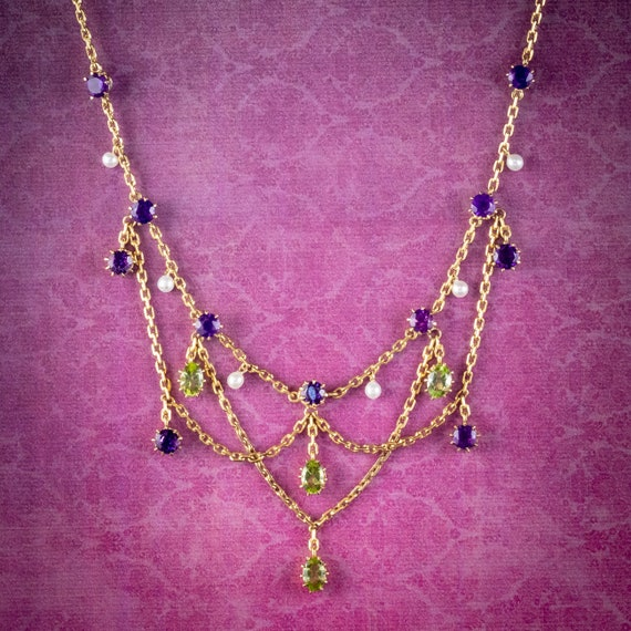 Antique Edwardian Suffragette Garland Necklace 18c