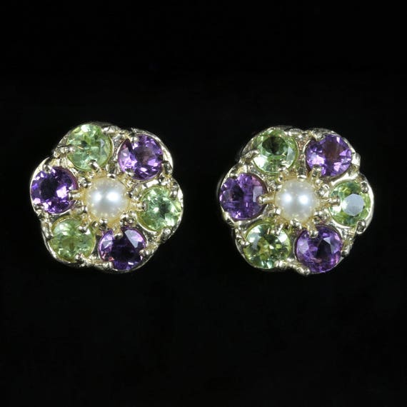 Suffragette Flower Earrings 9ct Gold