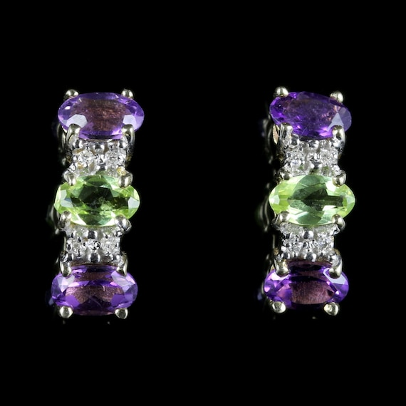 Suffragette Earrings Amethyst Peridot Diamond 9ct