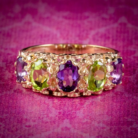 Amethyst Peridot Suffragette Ring 9ct Yellow Gold