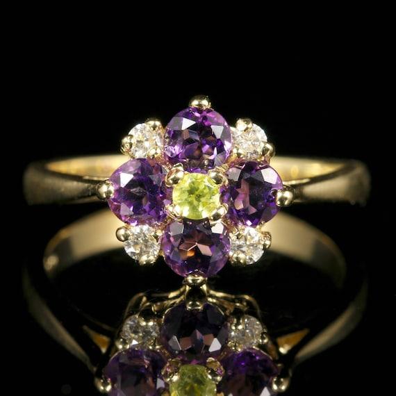 Suffragette Cluster Ring Amethyst Peridot Diamond