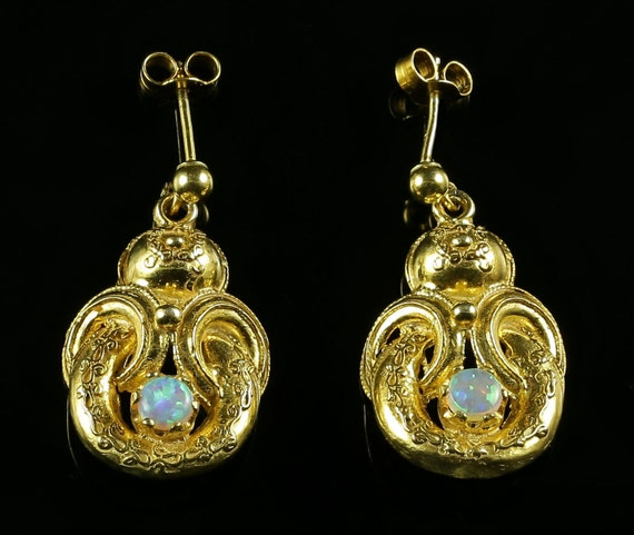 Opal Gold Earrings - Beautiful Opals Victorian Sty