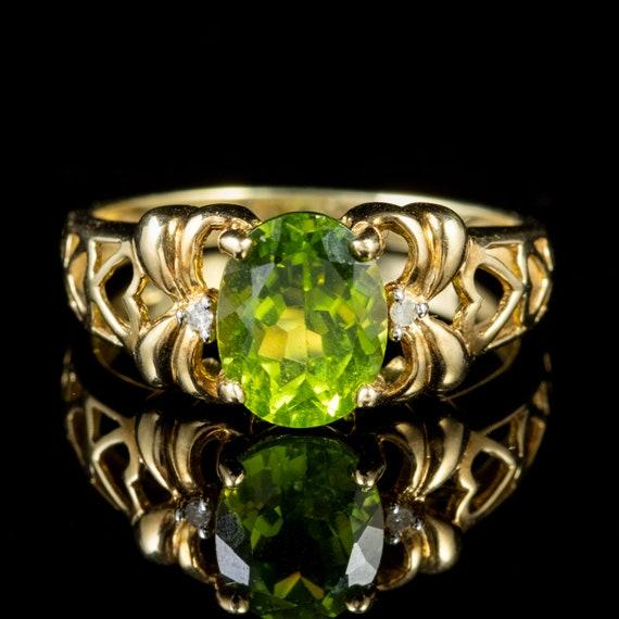 Peridot Diamond Heart Ring 9ct Gold 2ct Peridot