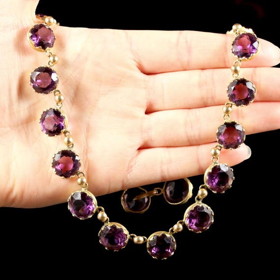 Antique Victorian Purple Paste Necklace Circa 1860 - image 5