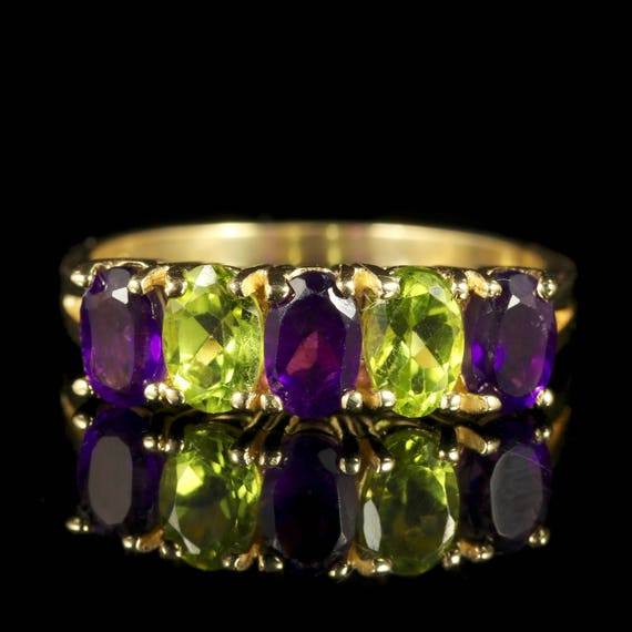 Suffragette Ring Amethyst Peridot 9ct Gold