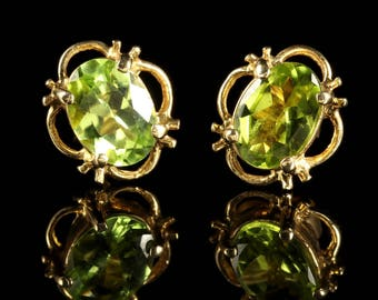 Peridot 9ct Gold Stud Earrings