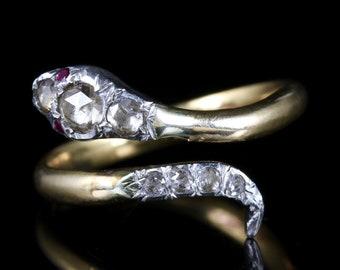 Diamond Ruby Serpent 18ct Gold Ring