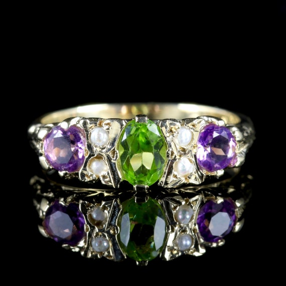 Suffragette 9ct Gold Ring Peridot Amethyst Pearl