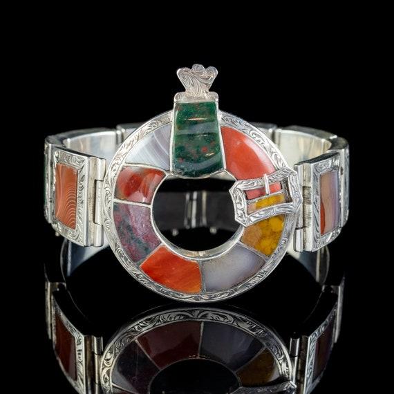 Antique Victorian Scottish Agate Buckle Bracelet S