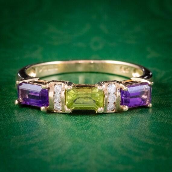 Suffragette Amethyst Peridot Diamond Ring 9ct Gold
