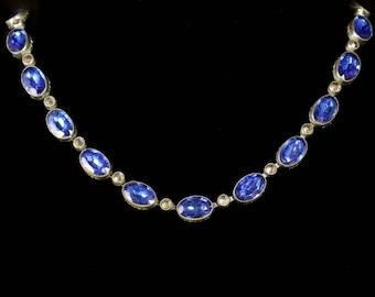 Art Deco Czech Blue Paste Collar Necklace Circa 1930