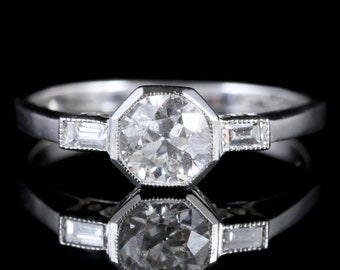 Art Deco Diamond Engagement Ring 18ct White Gold