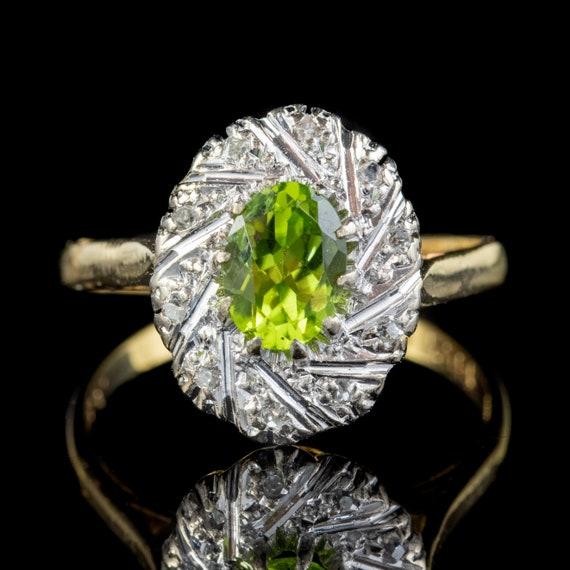 Vintage Peridot Diamond Cluster Ring 18ct Gold 1.2