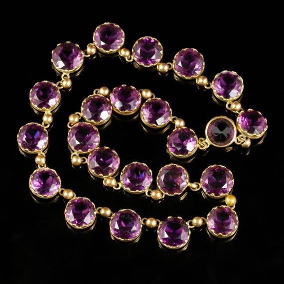 Antique Victorian Purple Paste Necklace Circa 1860 - image 3