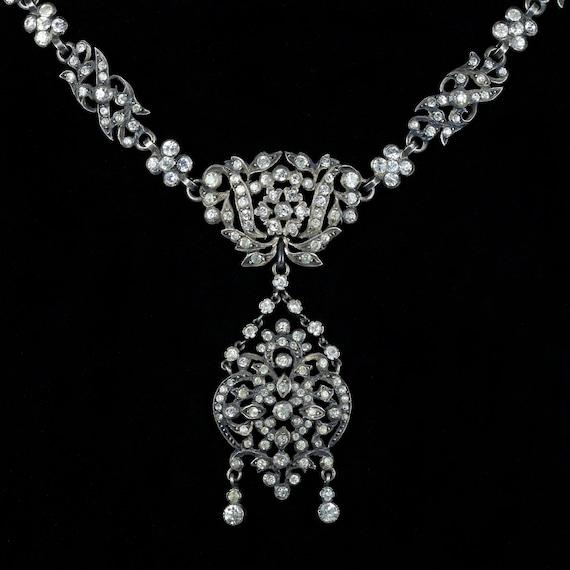 Antique Victorian Silver Paste Necklace 1880