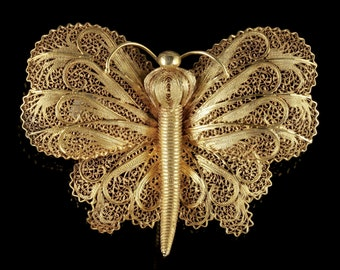Antique Victorian Butterfly Brooch Silver 18ct Gold Circa 1900