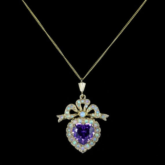 Suffragette Amethyst Opal Heart Necklace Gold