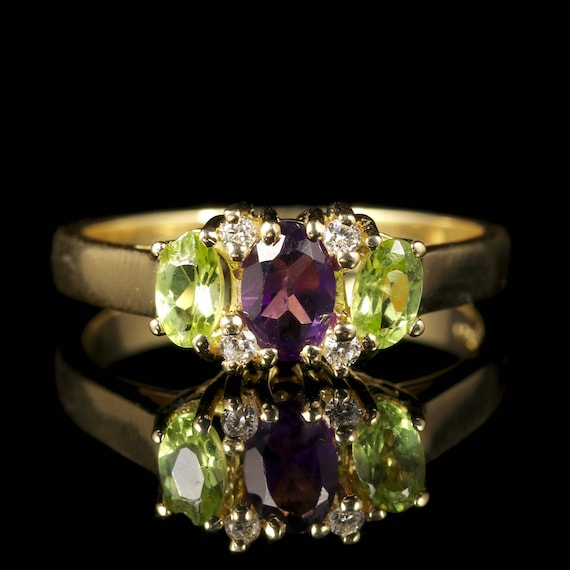 Suffragette Amethyst Peridot Diamond Ring