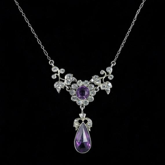 Antique Victorian Amethyst Paste Necklace Silver C