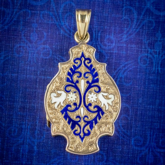 Antique Victorian Enamel Locket 15ct Gold Circa 18