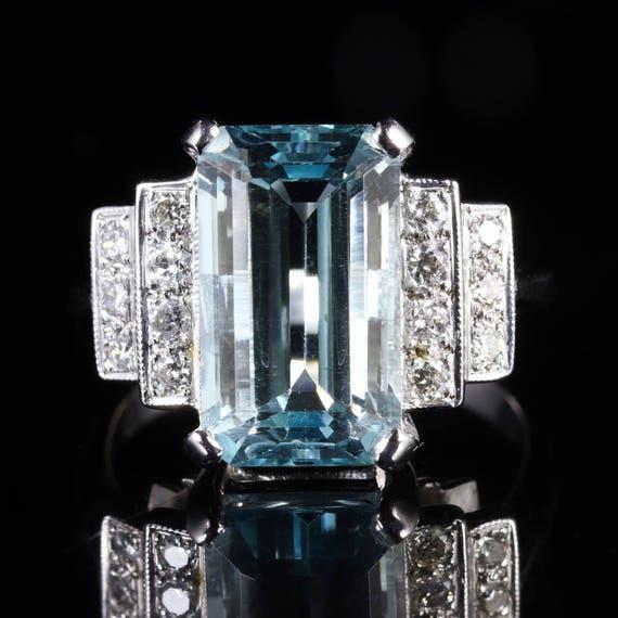 Aquamarine Diamond Engagement Ring 18ct Gold6ct A
