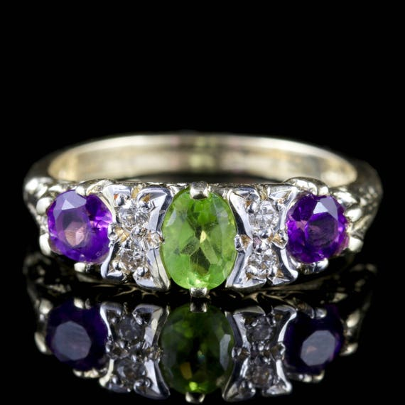 Suffragette Gold Amethyst Periodt Diamond Ring