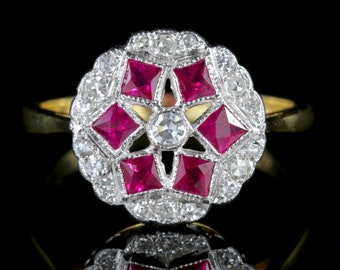 Diamond Ruby Cluster Ring 18ct Gold