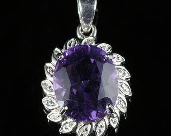 5ct Amethyst and Diamond Silver Pendant