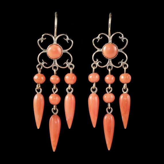Antique Victorian Coral Chandelier Earrings 18ct G