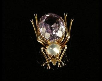 Antique Victorian Bug Brooch - Gold - Moonstone & Amethyst
