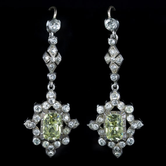 Antique Victorian Paste Silver Earrings Circa 1860