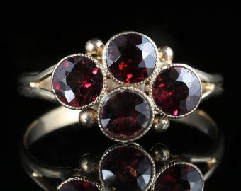 Antique Victorian Almandine Garnet Ring Circa 1900