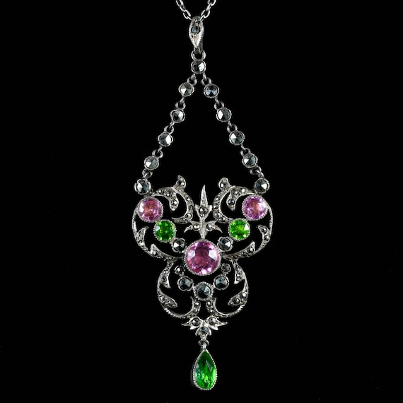 Antique Victorian Paste Pendant Necklace Circa 190