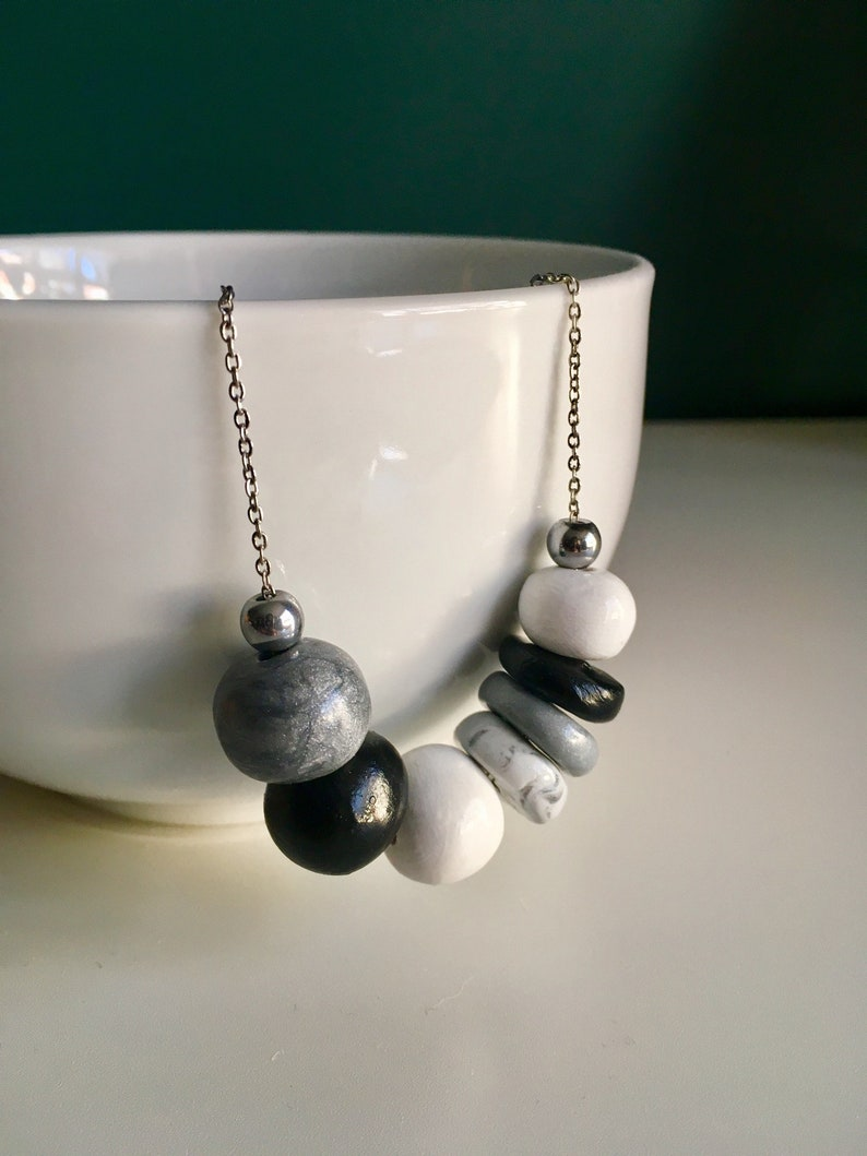 GreyBlackWhite for women Silver plated chain Necklace polymer beaded clay Jewelry Handmade in Montreal