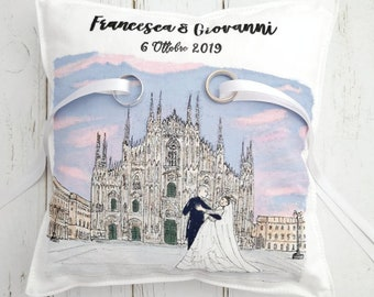 "Faith holder cushion 22x22 approximately hand-painted ""Love and Cathedral of Milan"""