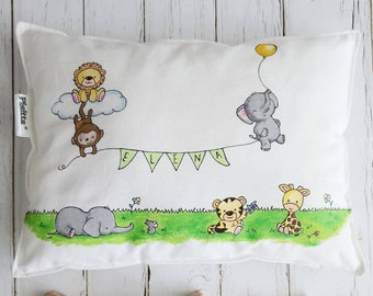 "Hand-painted 25x30 cushion ""welcome baby!"""