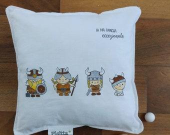 "20x20 hand-Painted Cushion ""Viking Family!"""