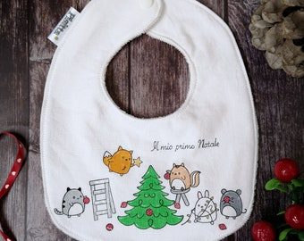 "Customizable hand-painted bib ""Let's make the tree!"""