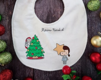 "Customizable hand-painted bib ""My first Christmas-baby"""