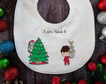 "Hand-painted bib ""My first Christmas-baby"""