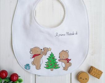 "Customizable hand-painted bib ""Family of Bears"""